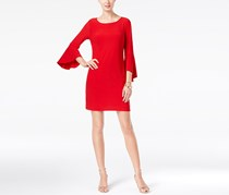 INC Women's Scoop-Neck Bell Sleeves Wear to Work Dress, Red