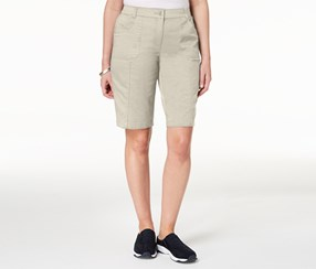 Karen Scott Women's Mid-Rise Cotton Shorts, Khaki