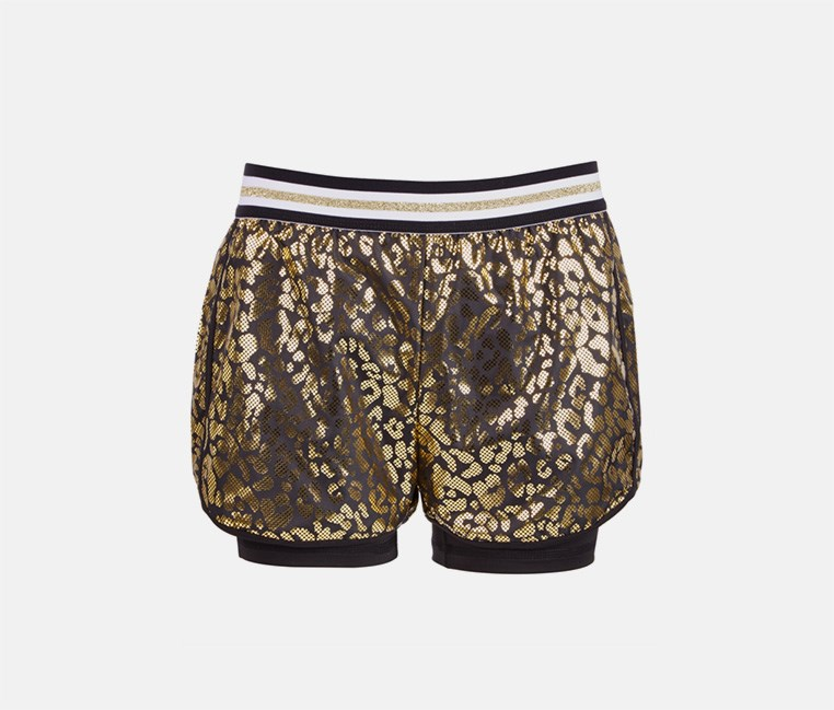 Girls Plus Metallic Leopard Shorts, Black/Gold