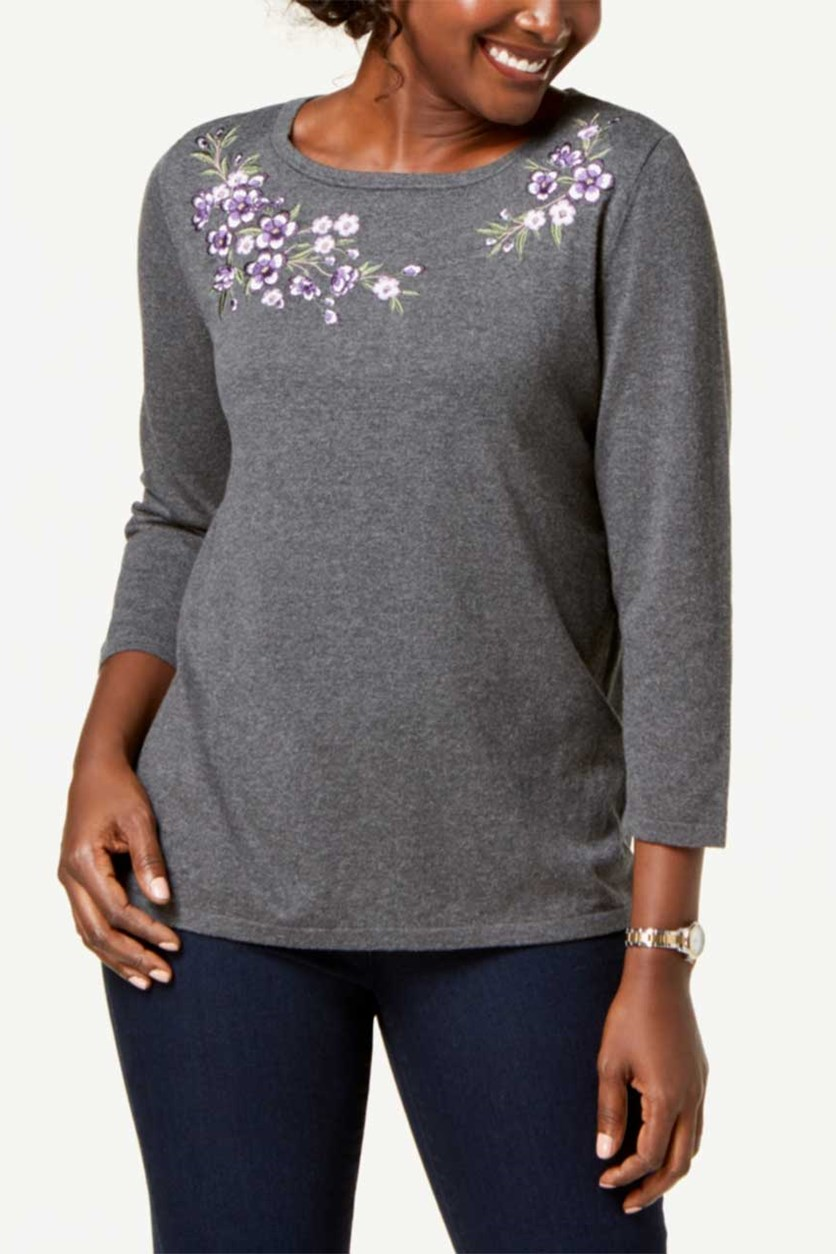 Women's Petite Embroidered Sweater, Grey