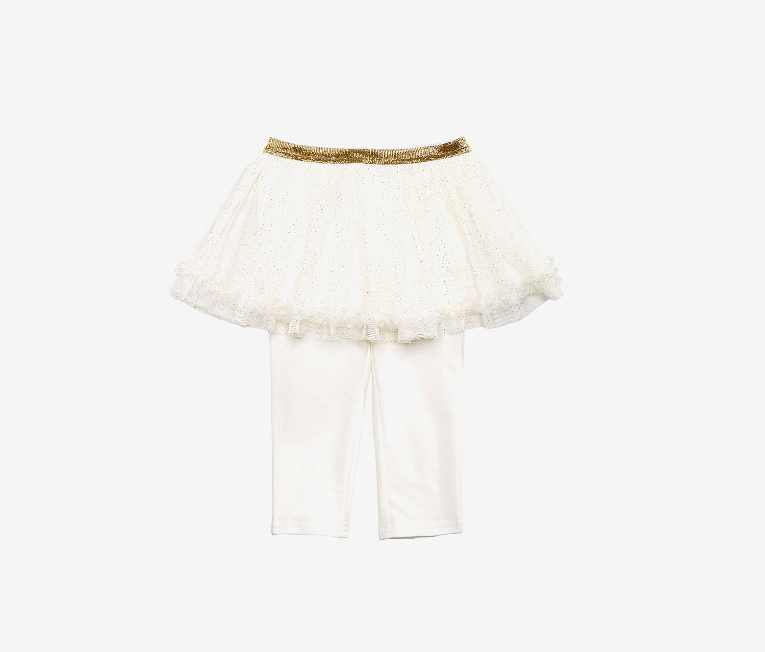 Baby Girls Tutu Leggings, Angel White