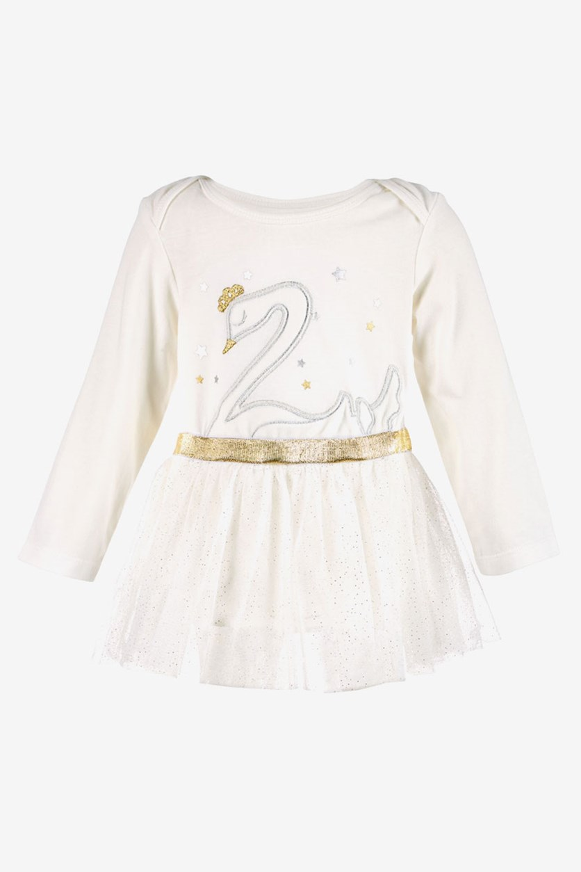 Baby Girls Swan-Print Tutu Bodysuit, Angel White