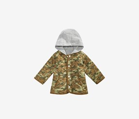 Baby Boys Layered- Look Hooded Printed Jacket, Olive/Gray