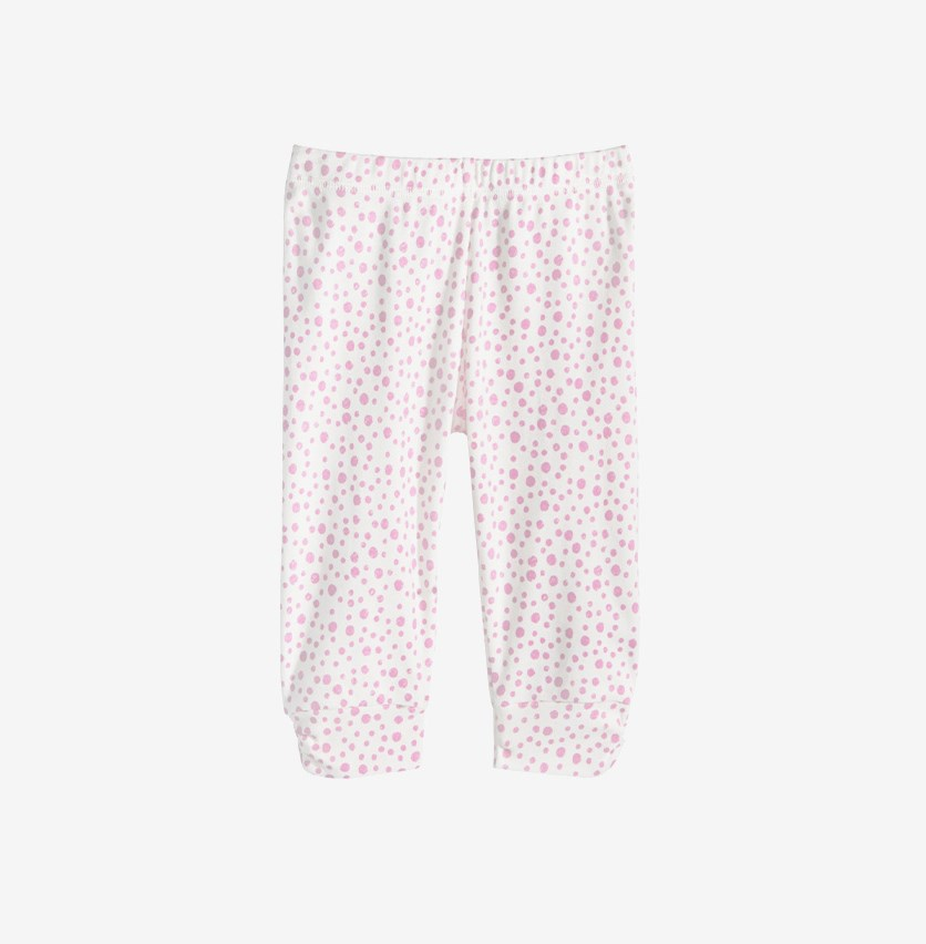 Baby Girls Dot-Print Cotton Jogger Pants, Lily White