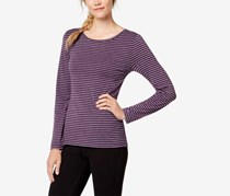 Ideology Striped Cutout-Back Long-Sleeve Top, Purple
