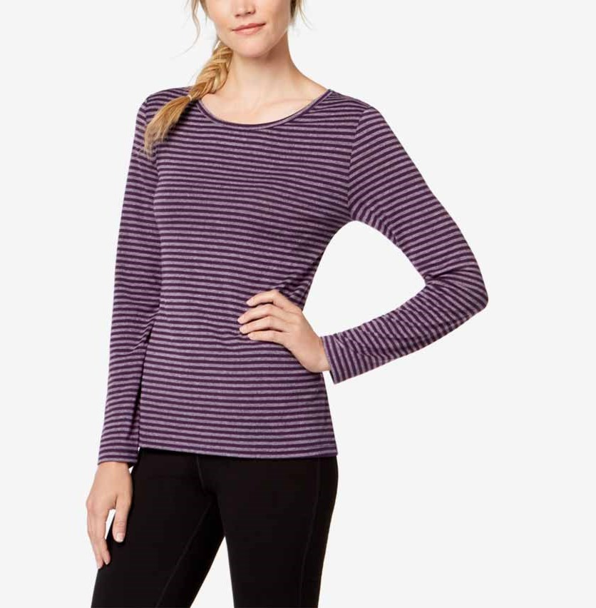 Striped Cutout-Back Long-Sleeve Top, Purple