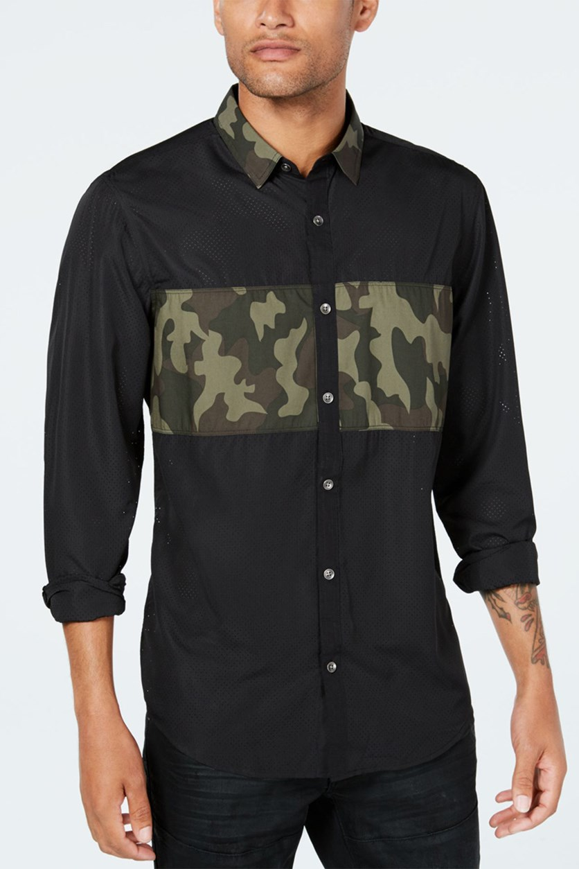 Men's Camo Mesh Shirt, Black/Olive