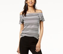 I.n.c. Women's Striped Off-The-Shoulder Top, Black/White