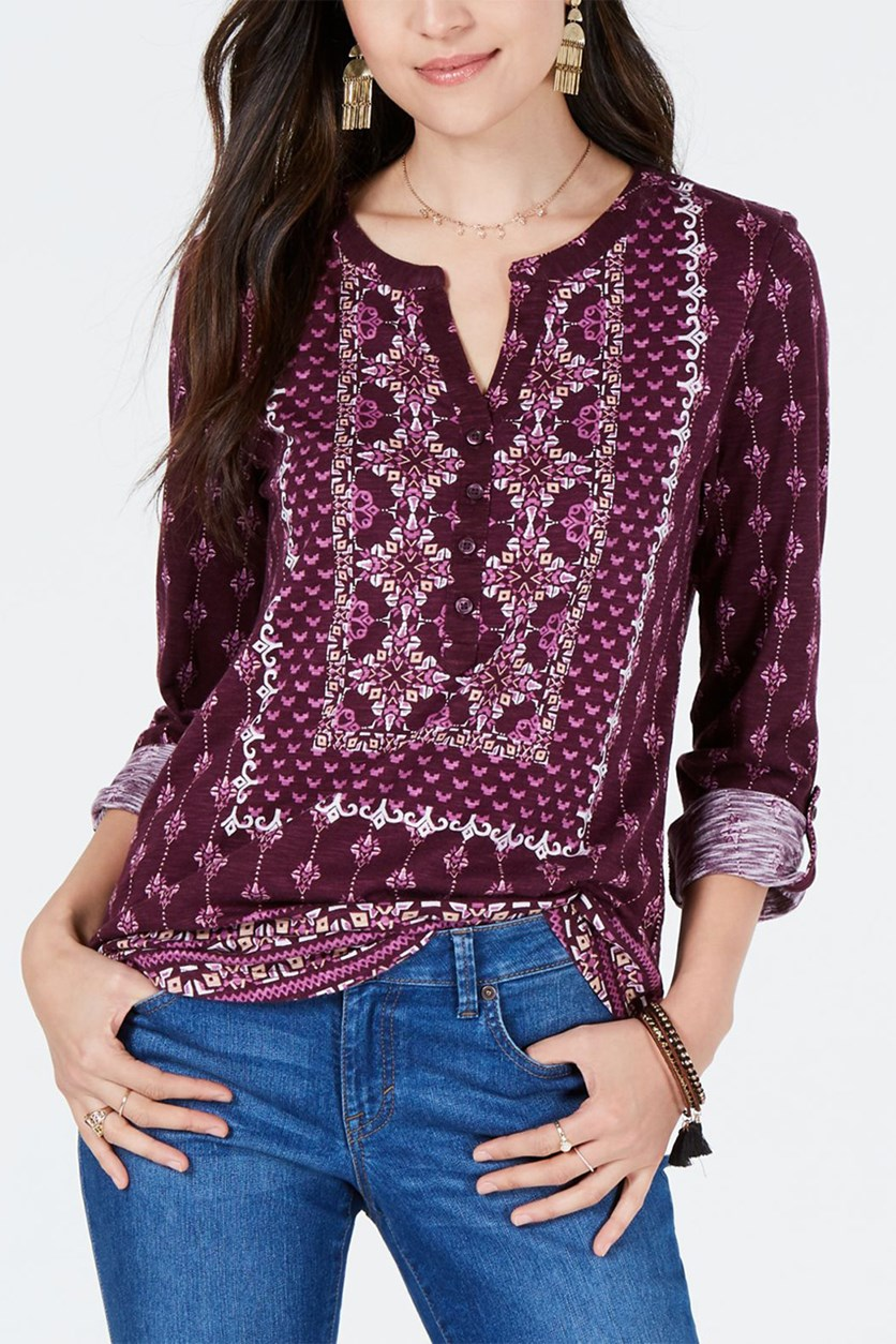 Women's Purple Mixed Print Split Neckline  Tops, Purple