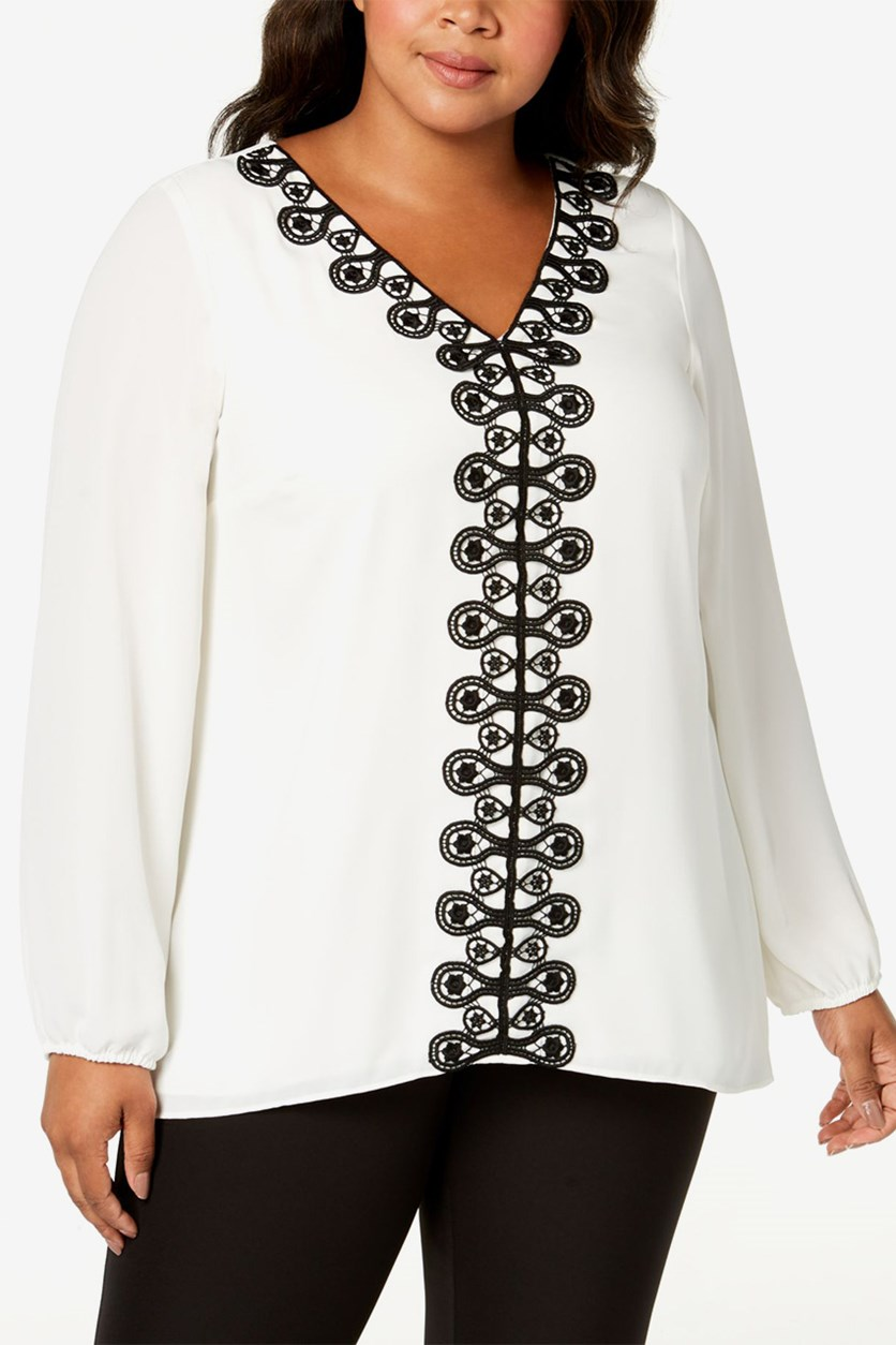 Women' Plus Size Crochet-Trim Tunic, Cloud