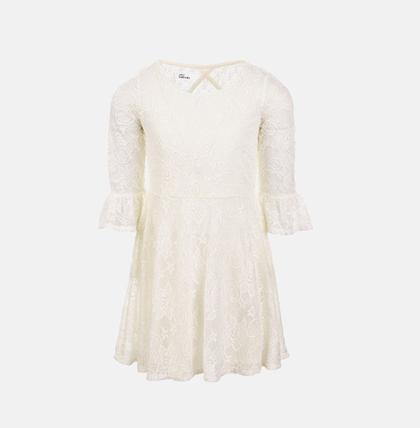 Big Girls Lace Bell Sleeve Drop Waist Dress, Holiday Ivory
