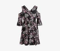 Big Girls Crochet-Trim Floral-Print Dress, Black