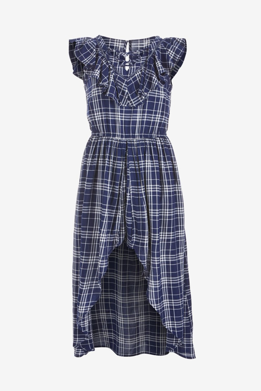 Big Girls Plaid Maxi-Overlay Romper, Medieval Blue