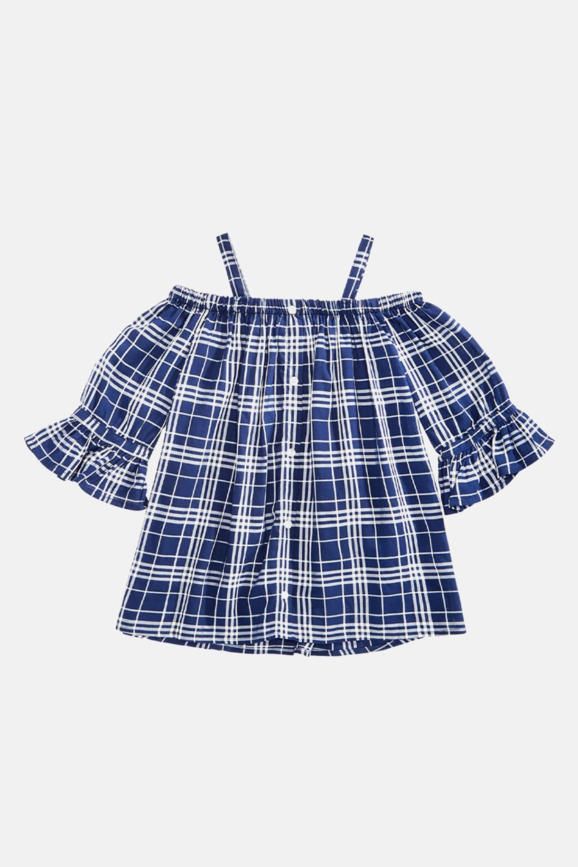 Big Girls Bell-Sleeve Plaid Top, Blue