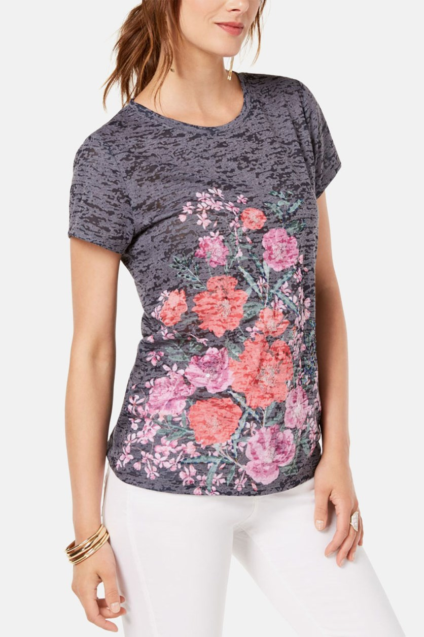 Printed Floral-Graphic T-Shirt, Grey