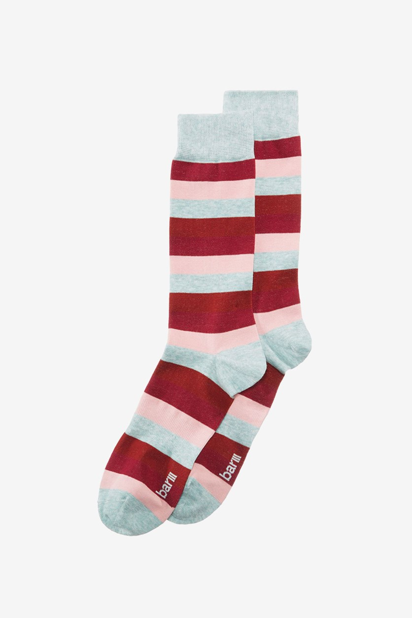 Mens Striped Dress Socks, Aloe Red Combo