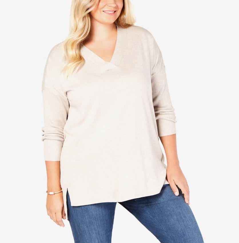 Women's Long Sleeves Plus Size High-Low Hem Top, Beige