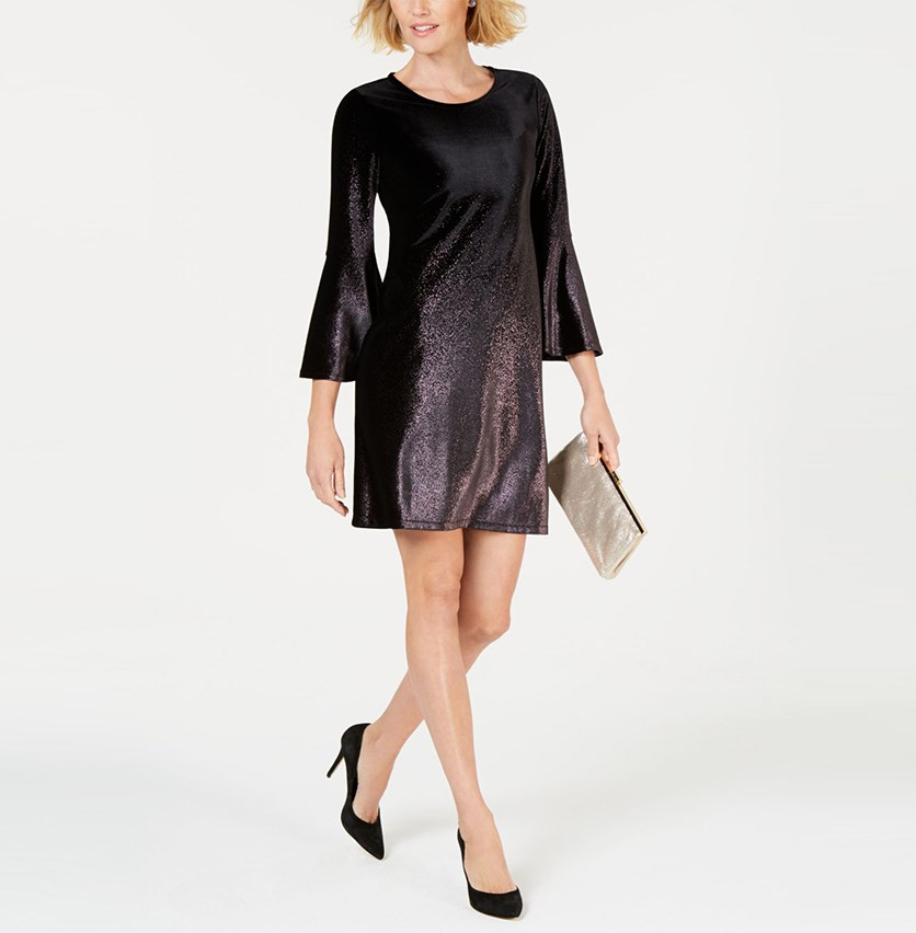 Women's Petite Foil Velvet A-Line Dress, Black