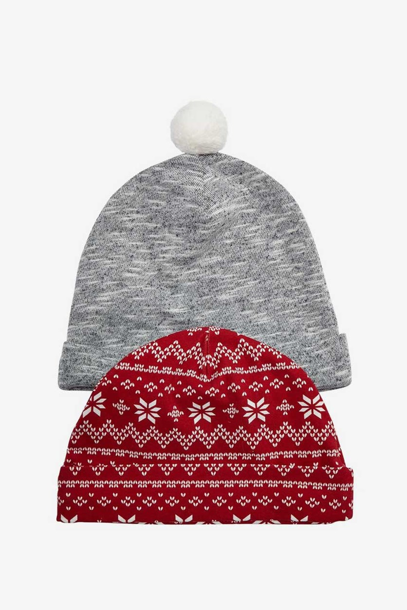Baby Boys 2-Pack Beanie Hats, Grey/Red