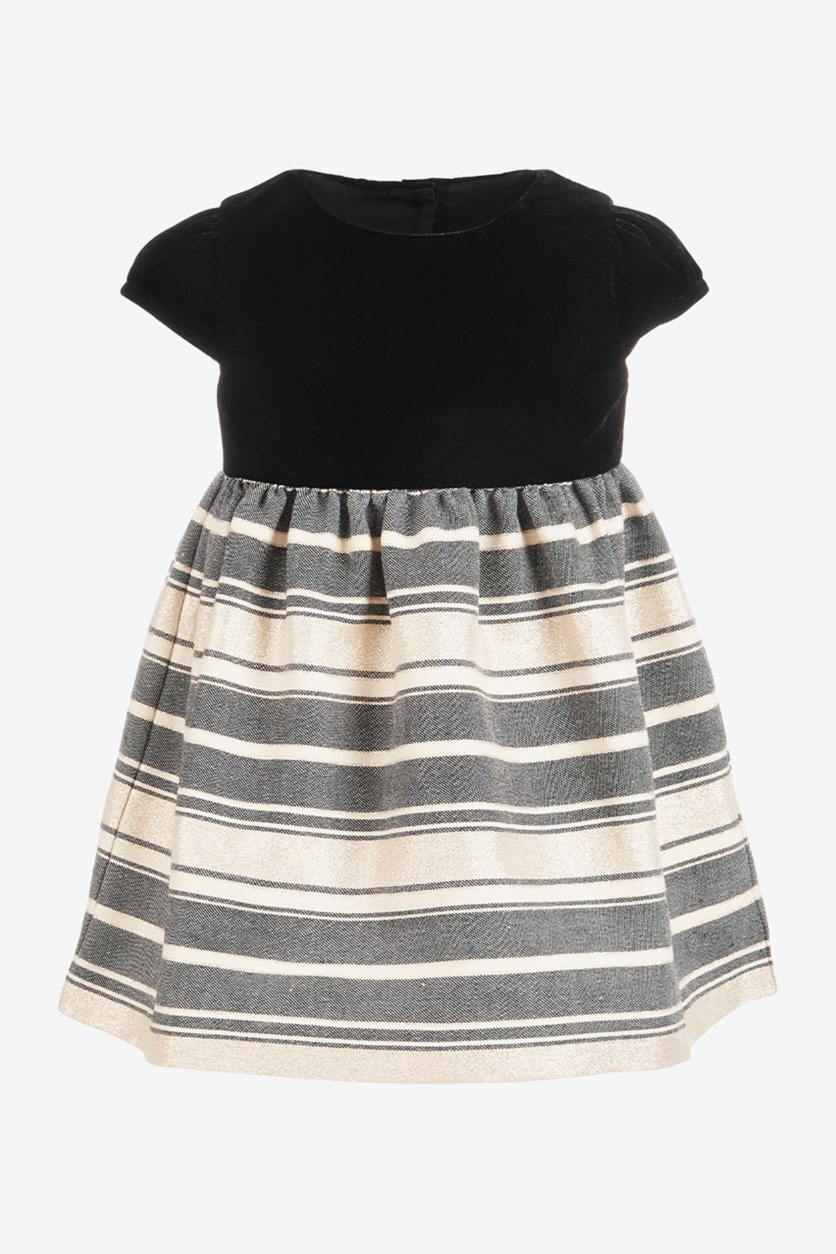 Baby Girls Velvet Metallic Jacquard Dress, Black/Gold