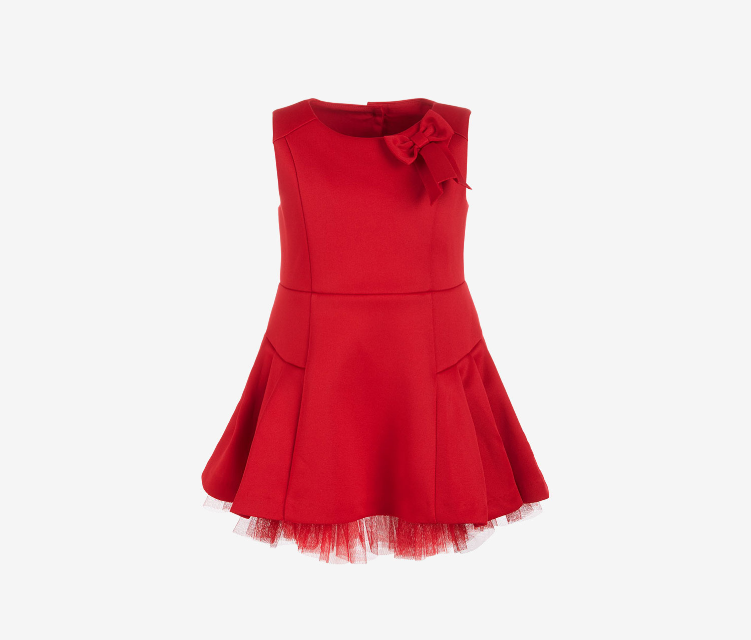 Baby Girls Scuba Tulle Dress, Cherry Red