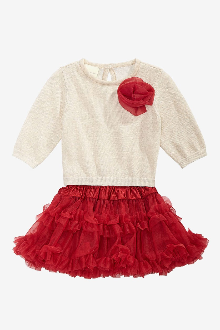 Baby Girls 2-Pcs. Metallic Sweater & Layered Tulle Skirt Set, Oatmeal/Dark Ruby