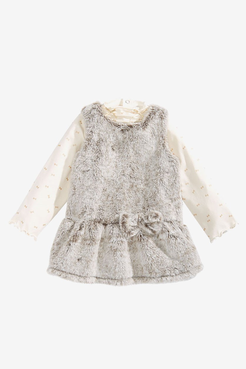 Baby Girls 2-Pcs. Faux-Fur Jumper & Printed Top Set, Natural Fur Combo