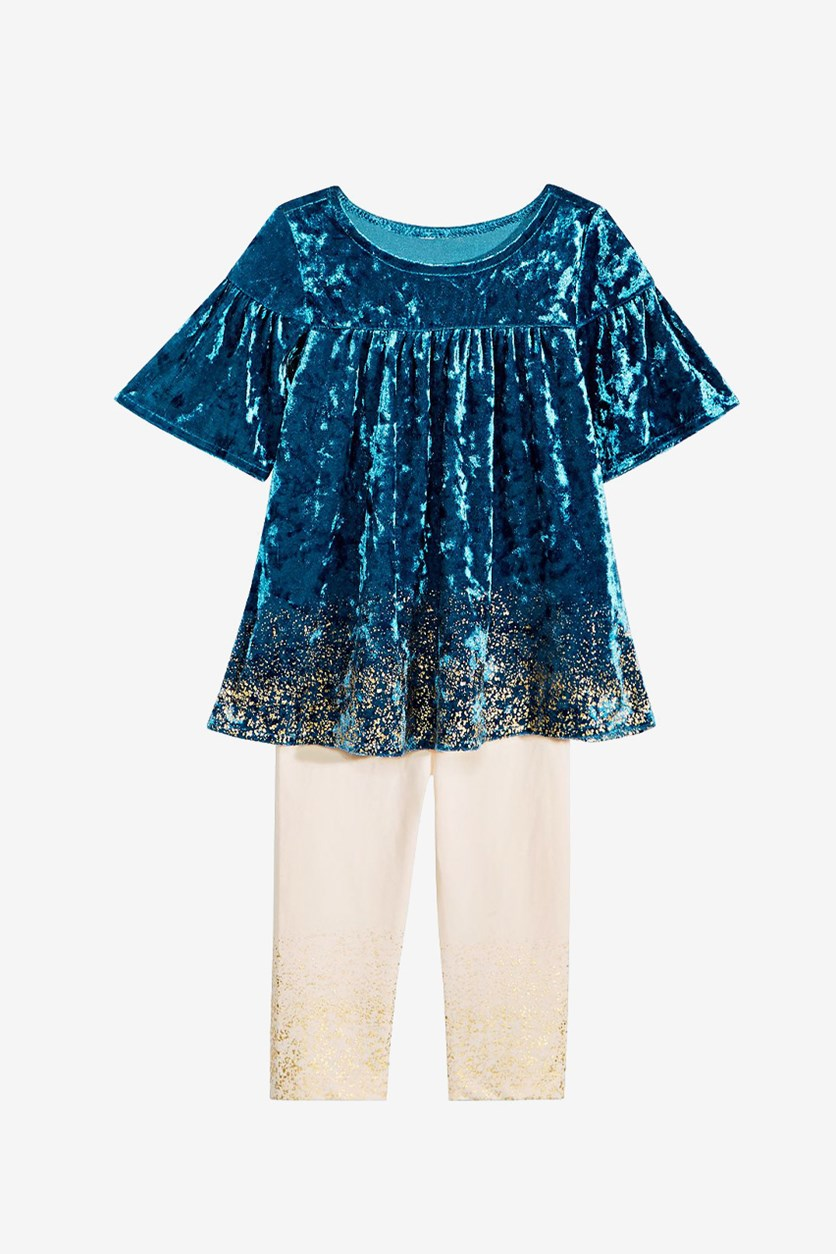 Velvet Dress & Legging Set, Nocturnal Blue/Cloud