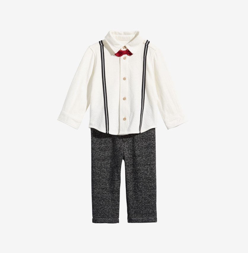 Baby Boys 2-Pc. Suspender & Bowtie Shirt and Pants Set, Ivory/Black