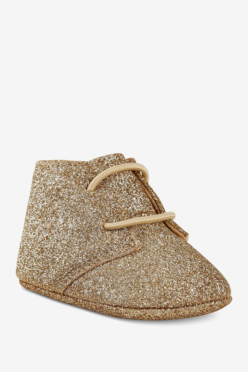 Baby Girls Metallic Glitter Chukka Boots, Gold