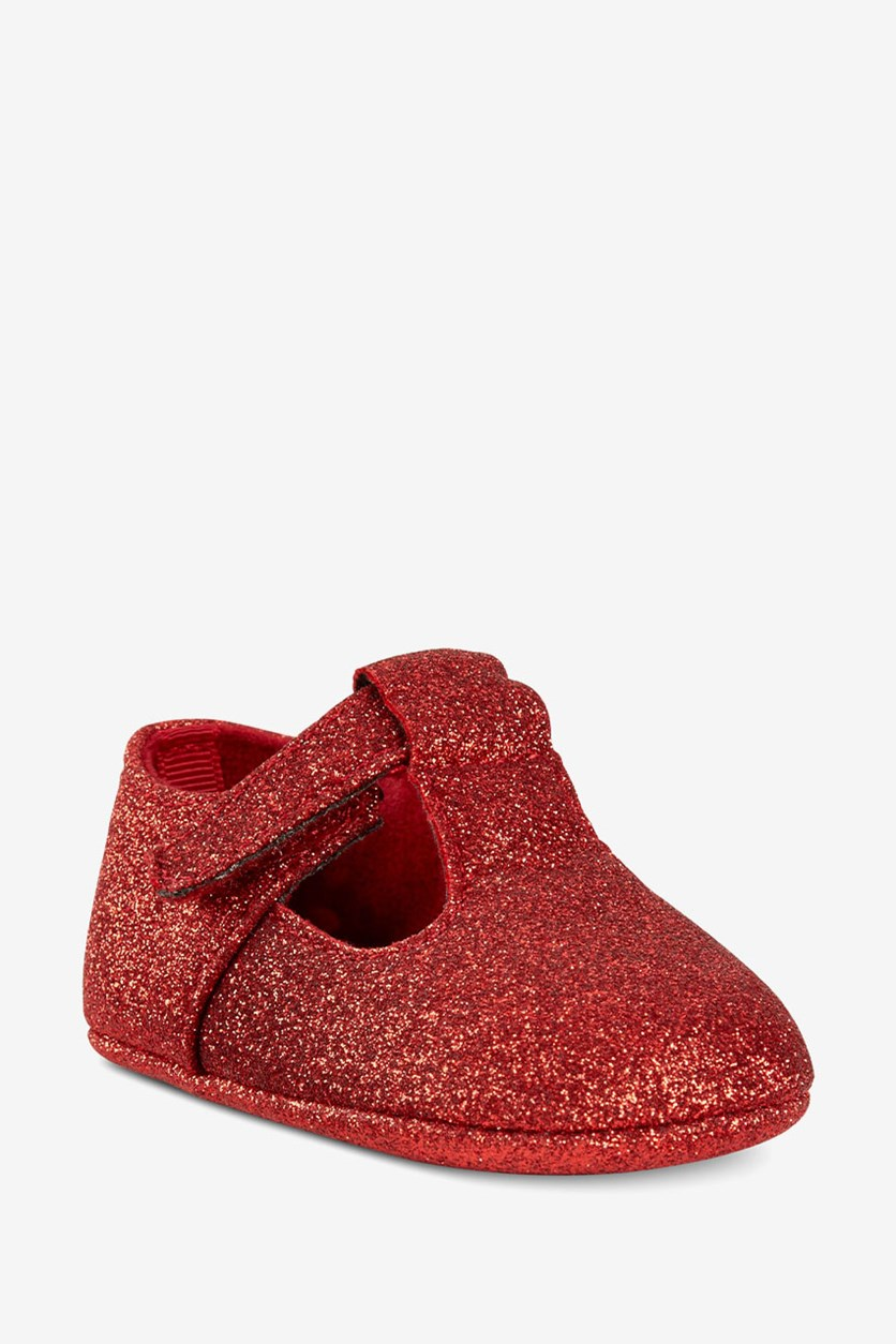 Baby Girls Metallic Glitter Ballet Flats, Red