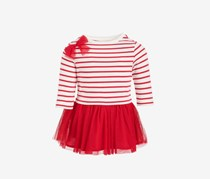 Baby Girls Stripe & Tulle Dress,  Cherry Top