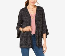 Women's Flared Sleeve Open-Front Cardigan, Charcoal