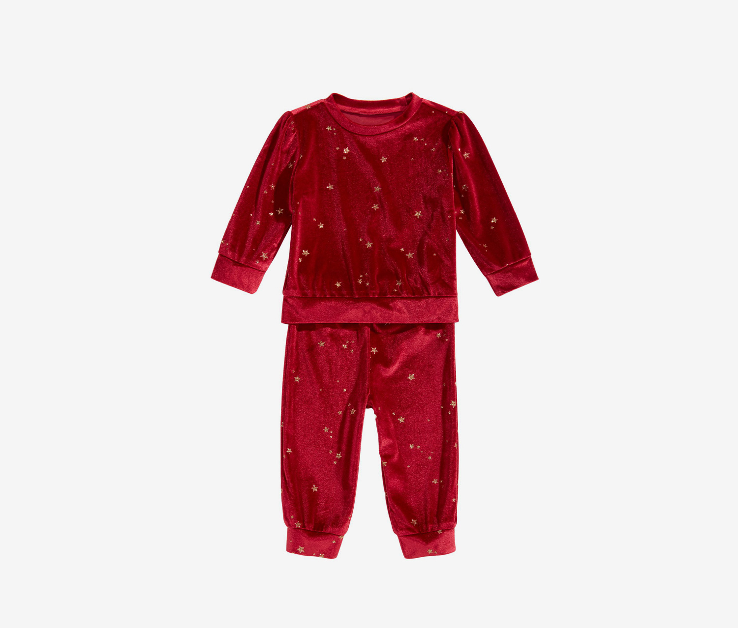 Baby Girls 2 Piece Glitter Velour Sweatshirt & Pants Set, Dark Ruby