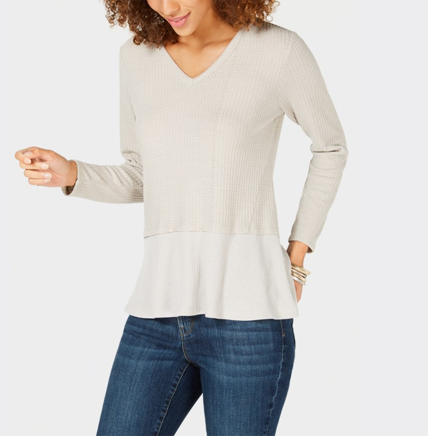 Petite Mixed-Media Thermal Longsleeves Top, Maple