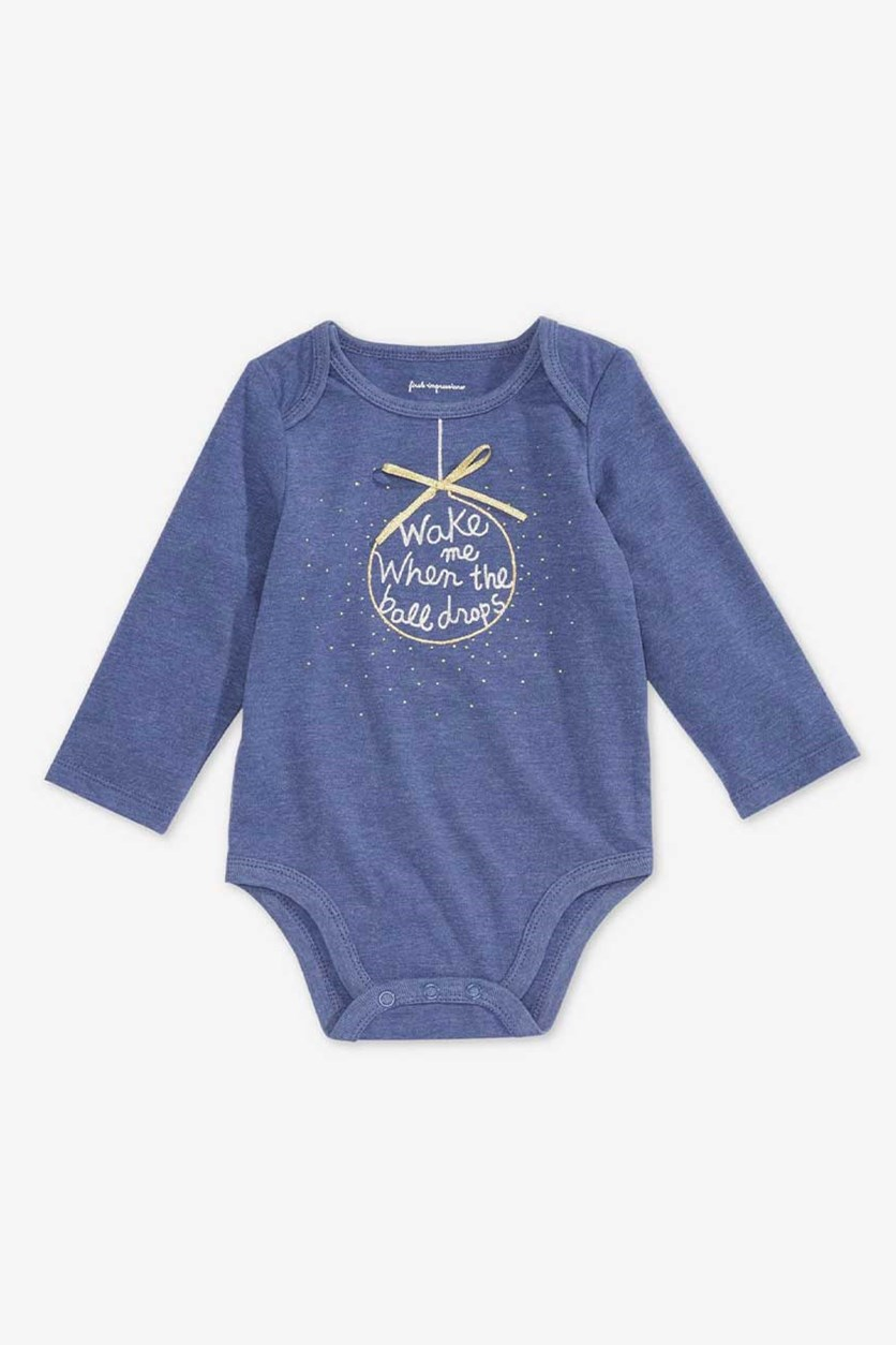 Baby Girls Ball Drop Graphic Bodysuit, Blue