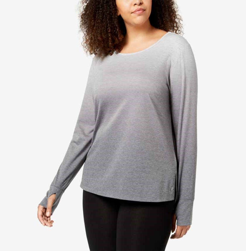 Plus Size Dip-Dyed Long-Sleeve T-Shirt, Gray