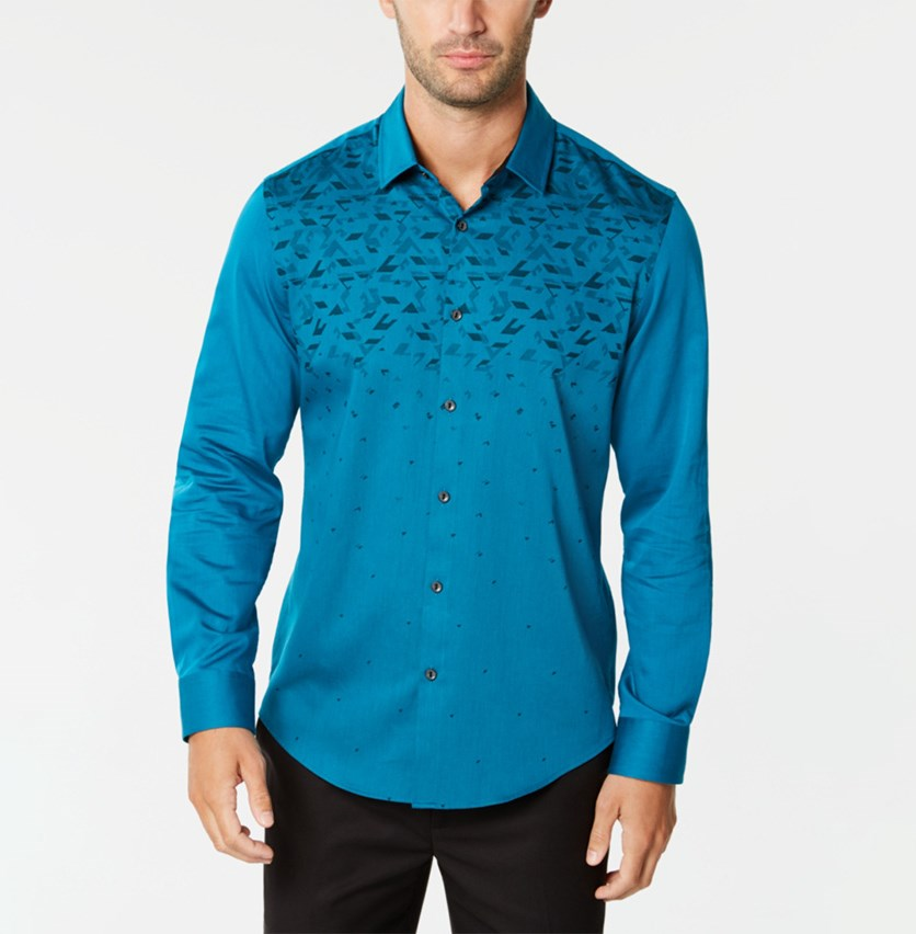 Men's Ombre Geo-Print Shirt, Elecrtic Teal