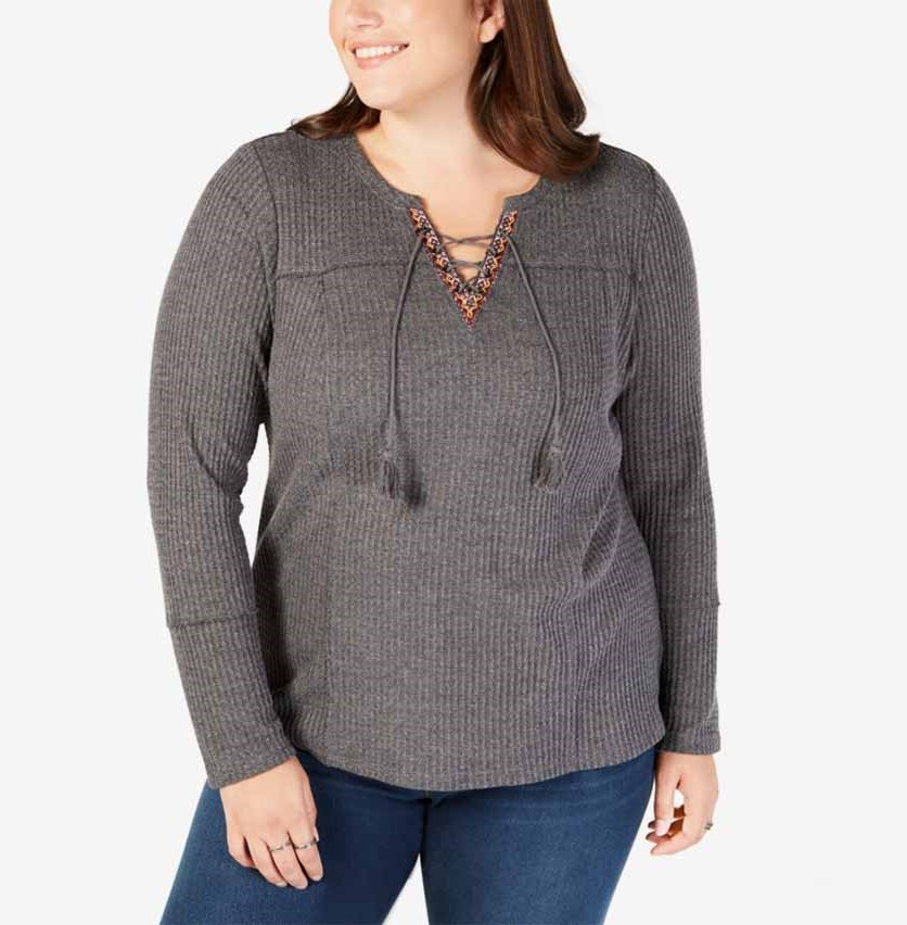 Women's Plus Size Lace-Up Thermal Top, Charcoal