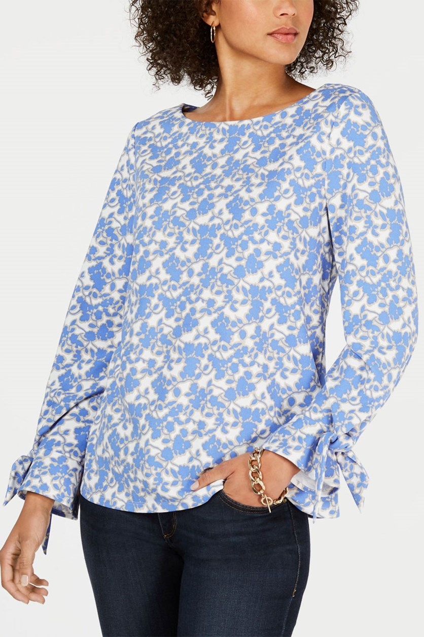 Tie-Sleeve Floral-Print Top, Blue/White