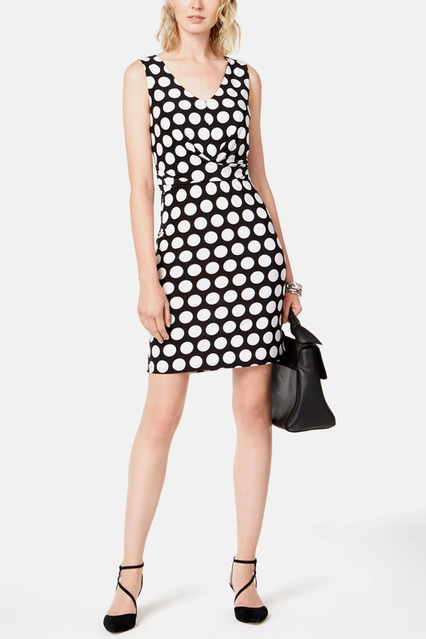 Womens Polka Dot Faux Wrap Sheath Dress, Black/White