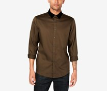 Men's Velvet Collar Shirt, Wren/Black