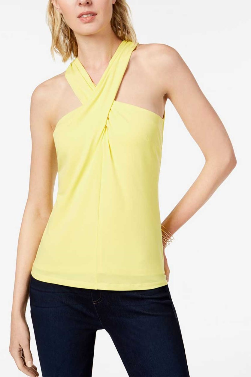 Womens Twist Front Sleeveless Halter Top, Sunray