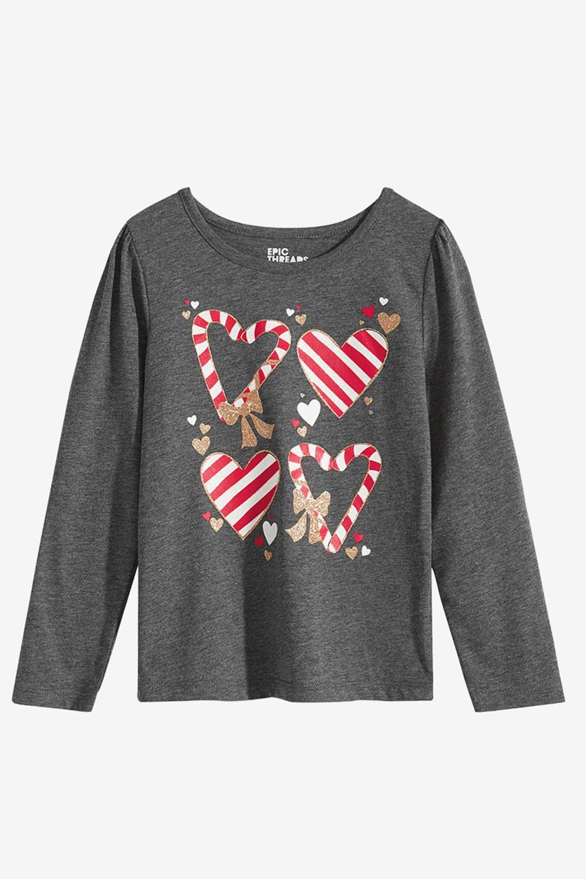 Toddler Girls Candy Cane Shirt, Charcoal Heather