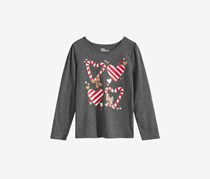 Epic Threads Kid's Girls Candy Cane Shirt, Charcoal Heather
