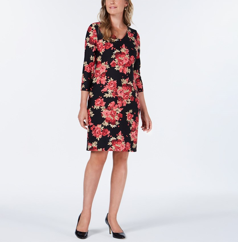 Floral-Print Shift Dress, Black Combo