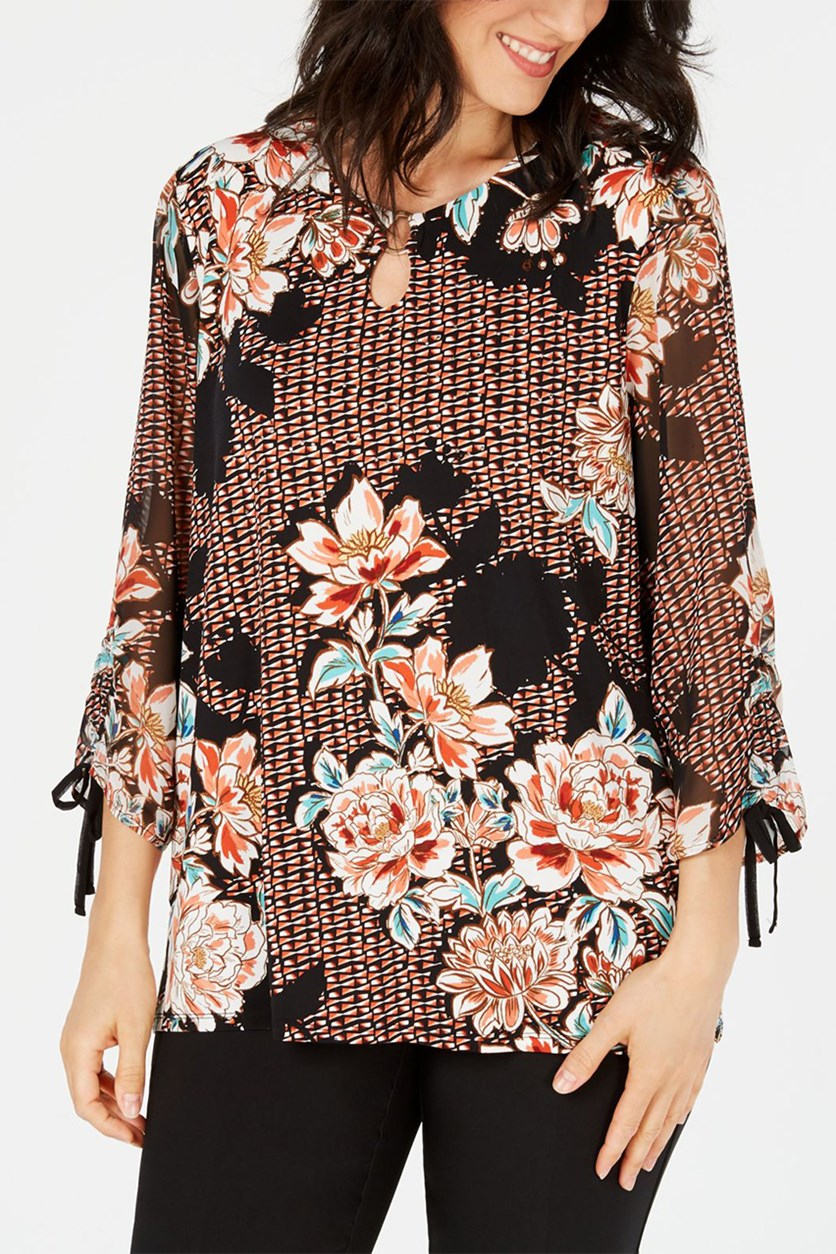 Petite Printed Tie-Cuff Top, Rusty Red Peony