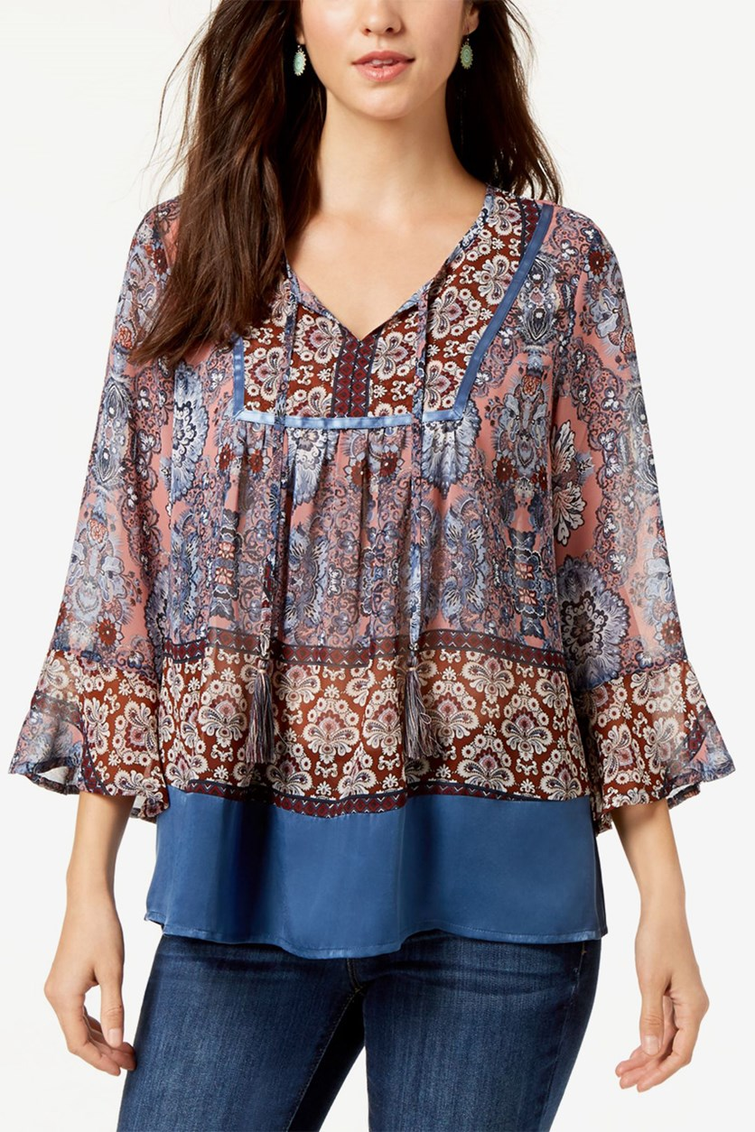 Petite Split-Neck Peasant Top, Paisley Empress