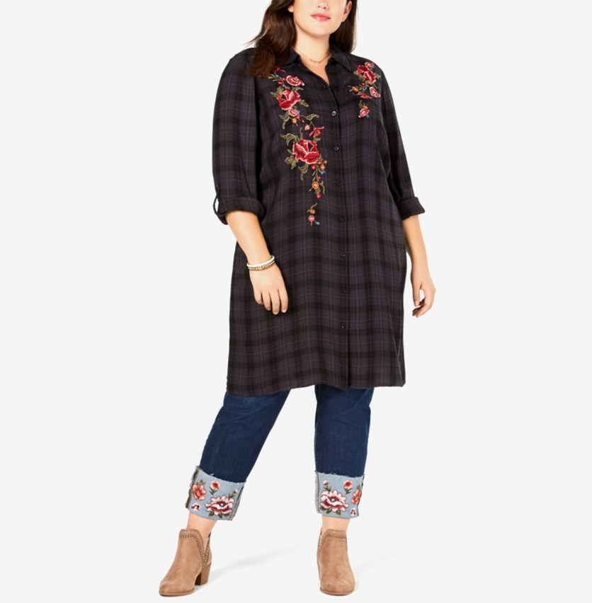 Women's Plus Size Plaid Embroidered Long Shirt, Black Charcoal