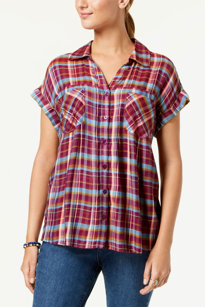 Women's Plaid High-Low Shirt, Purple